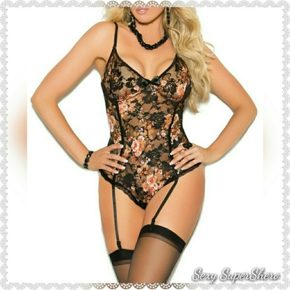 Sexy SuperShero Other - 🌸PLUS Floral Print Lace Teddiete lingerie/garters